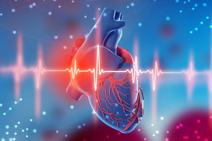 Abstract 3d image of a heart and a cardiogram monitoring a heart beat.