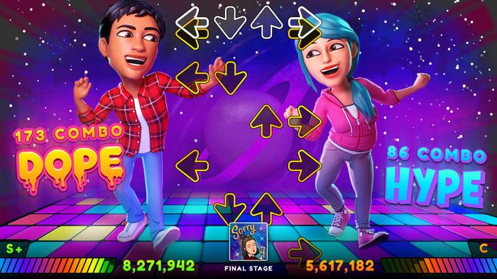 Two Snapchatters playing a Bitmoji game.