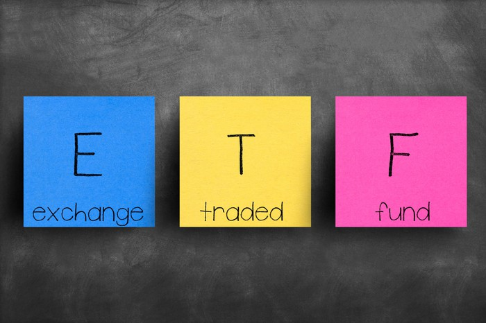 Red yellow and blue color blocks with the acronym ETF on them and the words exchange traded fund