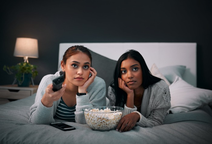 Two young women watching television, a bowl of popcorn between them