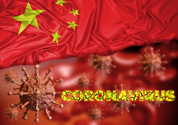 Collage of a microbe, the word coronavirus, and a Chinese flag