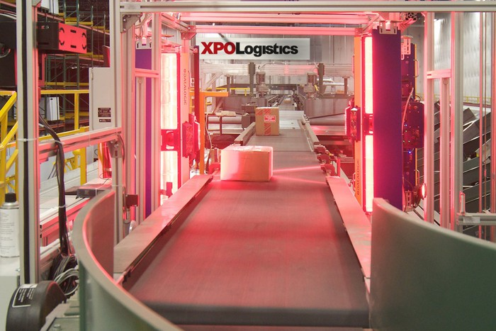 An XPO package sorting facility.