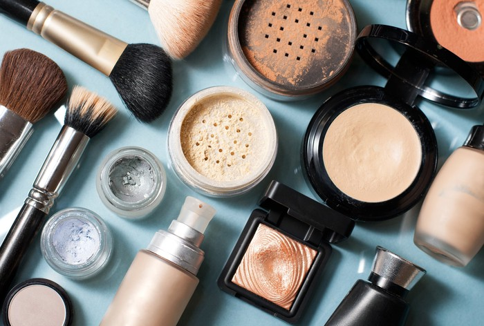 Assorted beauty products on table