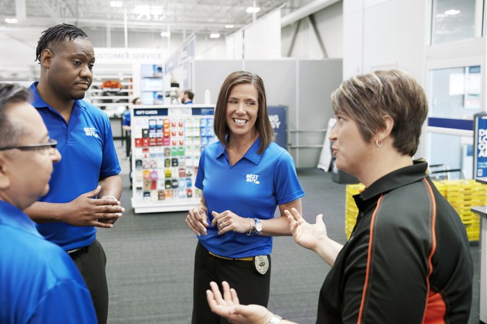 CEO Corie Barry with Best Buy staff