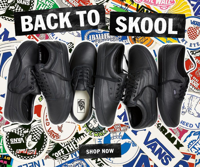A Vans ad with three pairs of black Vans shoes