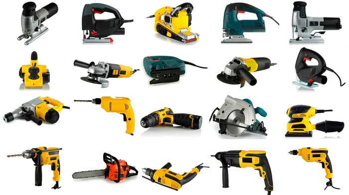A collection of power tools.