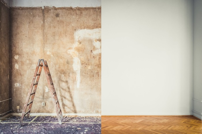 A before-and-after picture of a floor and a wall being redone.