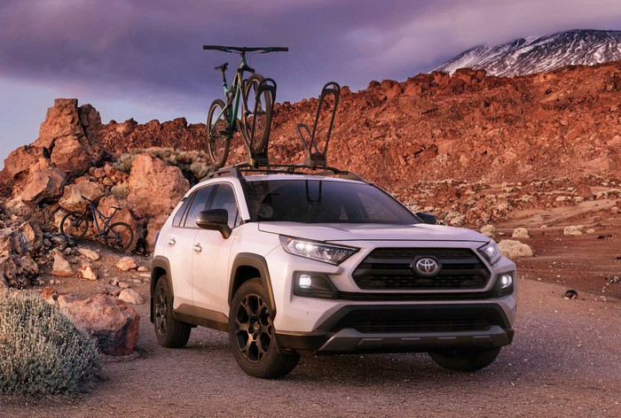 A 2020 Toyota RAV4 TRD, an off-road-ready compact crossover SUV.
