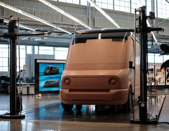Clay mockup of the Amazon delivery van being built by Rivian