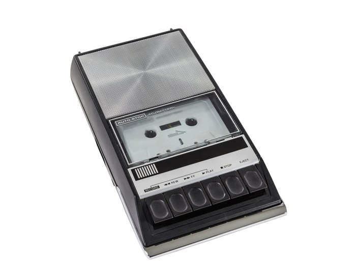An old-fashioned cassette player