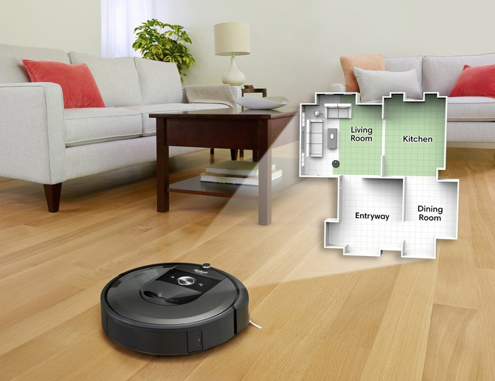 Roomba with home map with individual labeled rooms.