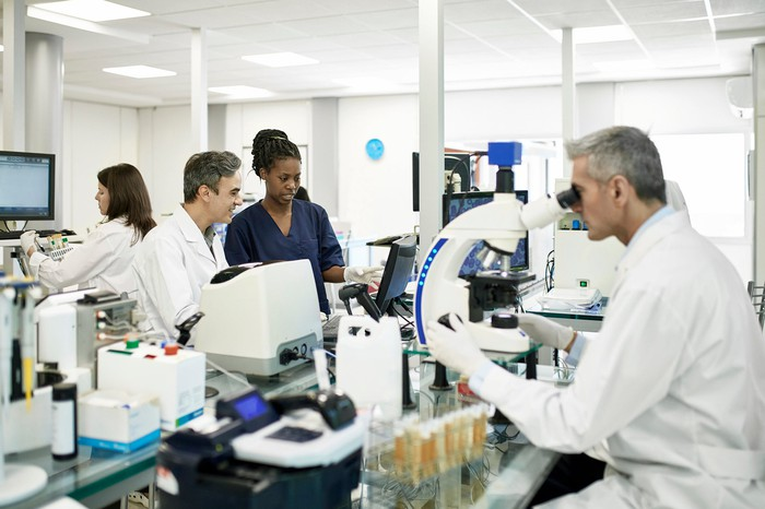 People working in a lab.