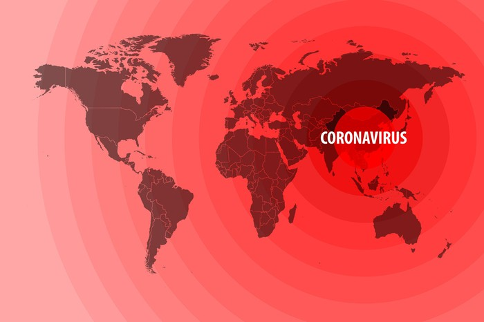 World map in red with epicenter-circles centered on China with word coronavirus