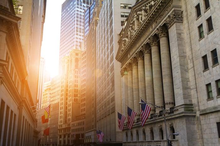 View down Wall Street.