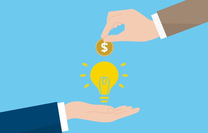 Venture capital concept: Illustration of a hand extending a dollar coin over a hand holding a light bulb.