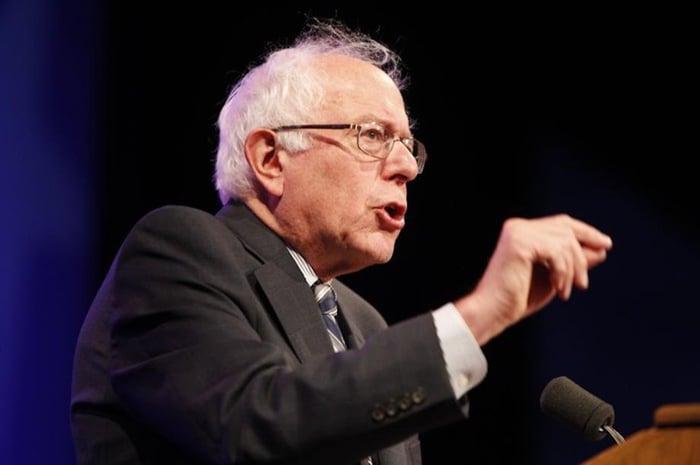 Senator Bernie Sanders giving remarks.