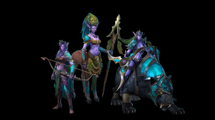 Some night elf characters from the Activision Blizzard video game Warcraft III: Reforged are shown