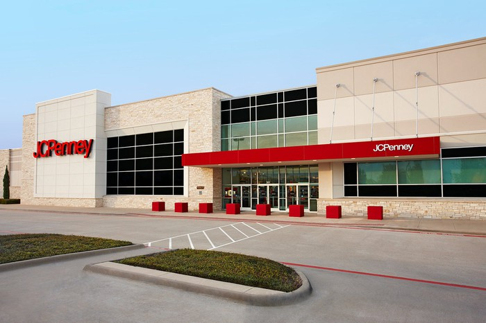 J.C. Penney store front with empty parking lot.