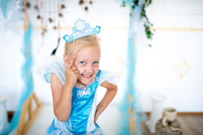 Girl dressed up as a princess.