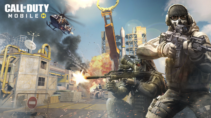 Game art of Call of Duty Mobile, with two soldiers dressed in combat gear and holding weapons.