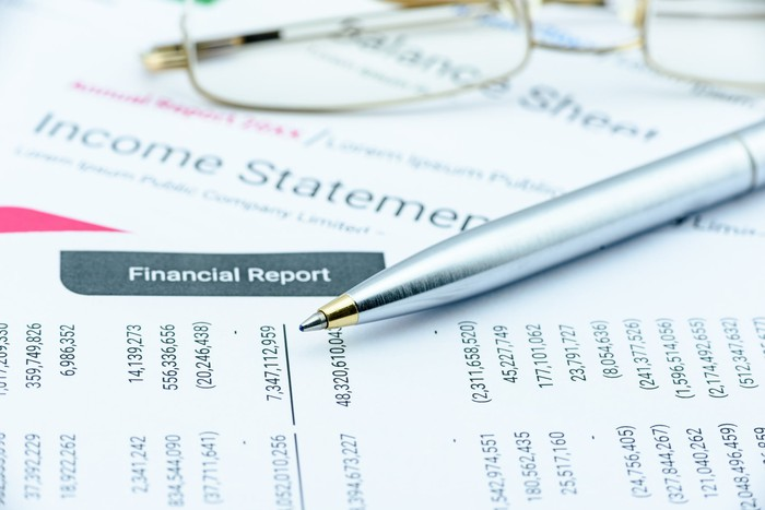 Financial statements with a pen and a some glasses.