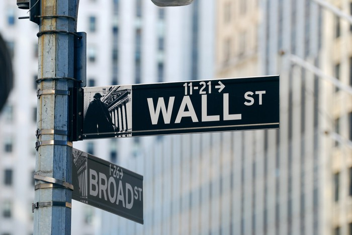 A Wall St sign.