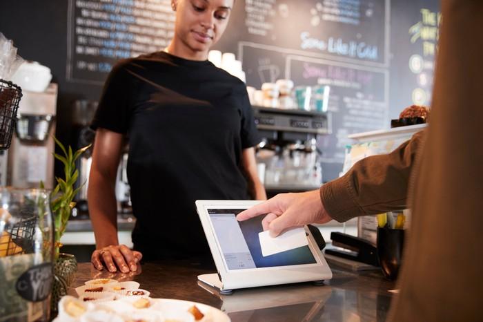 Customer using Square terminal