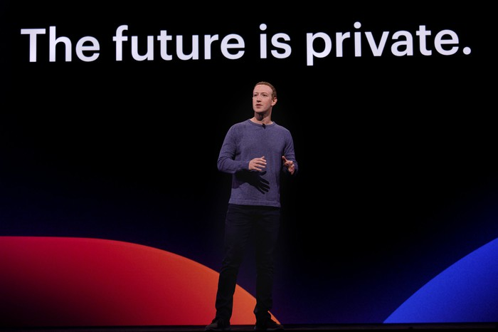 "Mark Zuckerberg on stage in front of a screen displaying ""The future is private."""