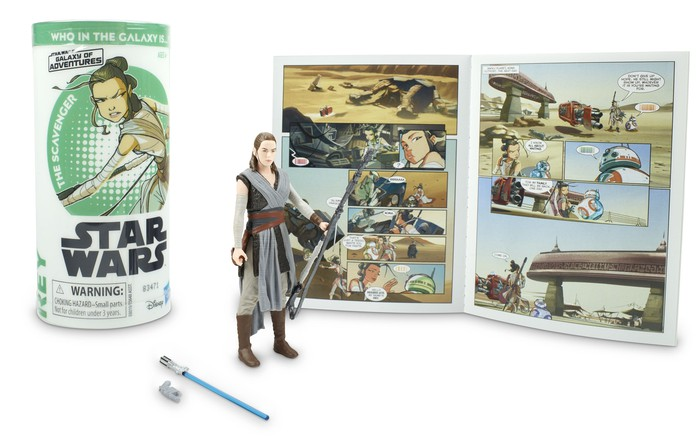 A Rey Skywalker toy set, with an action figure, a lightsaber, and a comic book.