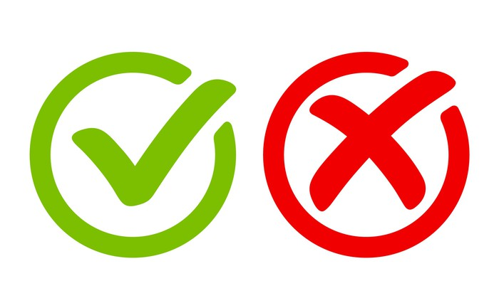 Graphic of green check mark and red X.