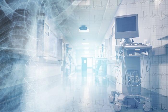 Medical equipment in a hospital hallway.