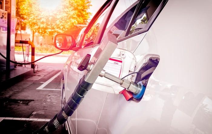 CNG Natural Gas fuel pump fueling a car