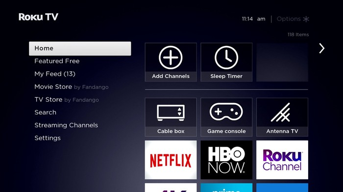 The Roku TV home screen, with shortcuts to various streaming channels