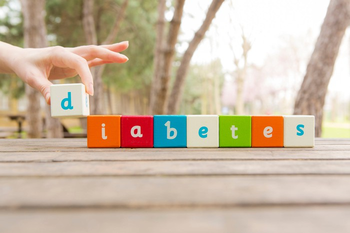 "The word ""diabetes"" spelled out with wooden letter blocks"