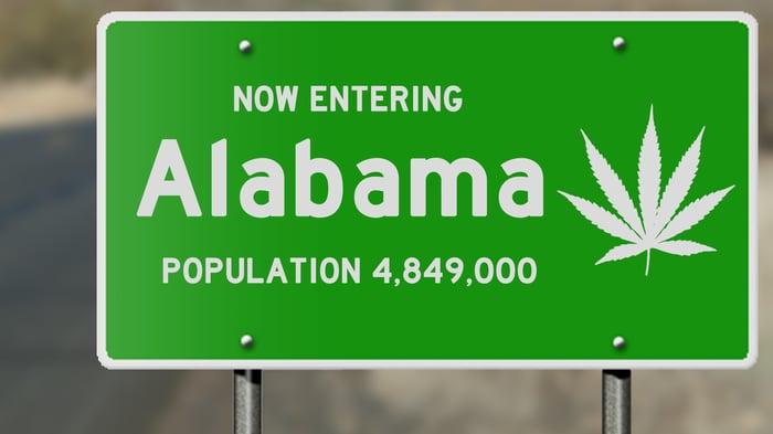 Alabama road sign with marijuana leaf.