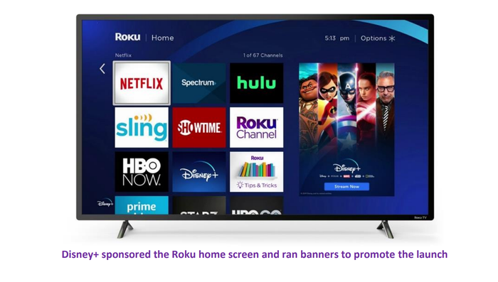 A smart TV displaying the Roku start-up screen, including a large ad for Disney+.