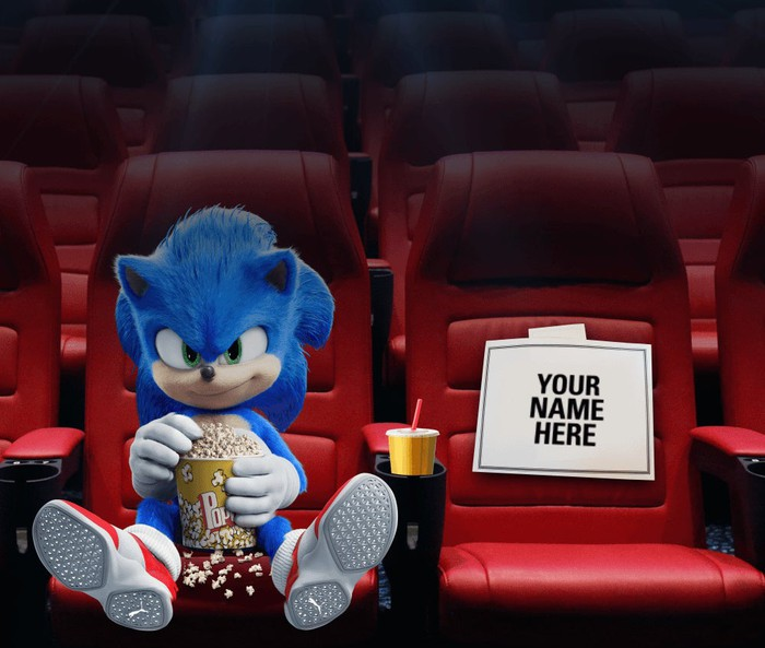 Rendering of Sonic the Hedgehog eating popcorn in an otherwise empty movie theater. The seat next to Sonic holds a sign, saying Your Name Here.