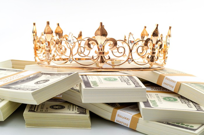 A golden crown sitting on top of several stacks of hundred dollar bills.