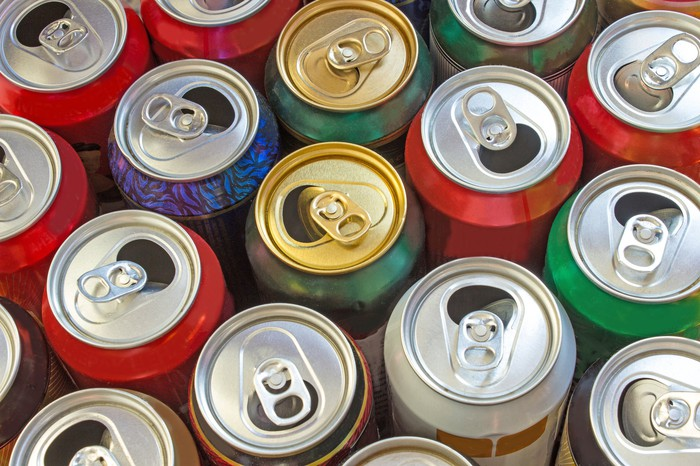 A collection of aluminum cans.
