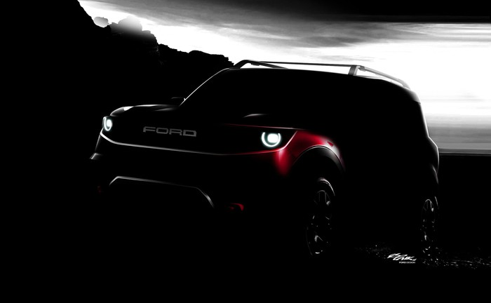 A darkened photo of a Ford Bronco Sport, a small off-road SUV.