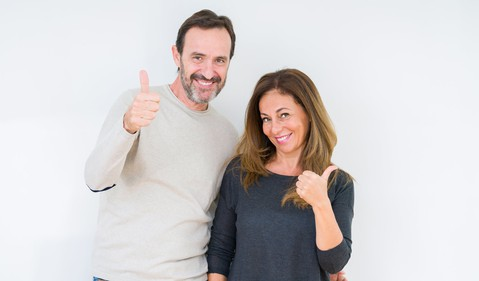 Getty - couple okay happy thumbs up yes easy good best success winning