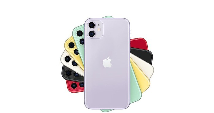 Six iPhone 11 handsets in various colors