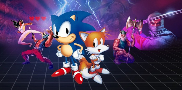 Sonic, Tails, and other video game characters.