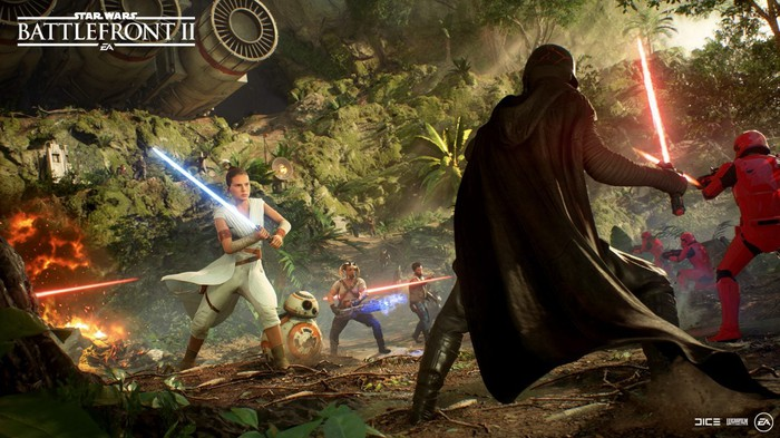 Screenshot from Star Wars: Battlefront 2 showing Darth Vader fighting another character with a light saber.