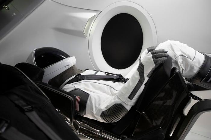 Astronaut flight suit in a space capsule