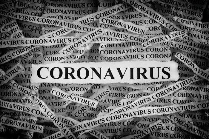 Many strips of newsprint all reading CORONAVIRUS