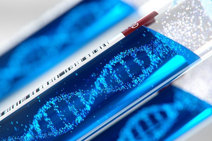 Test tubes with images of DNA