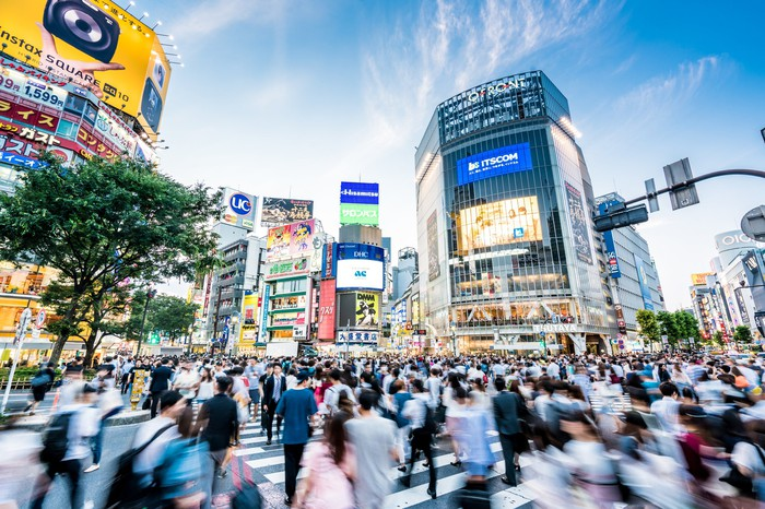A busy intersection in Tokyo.