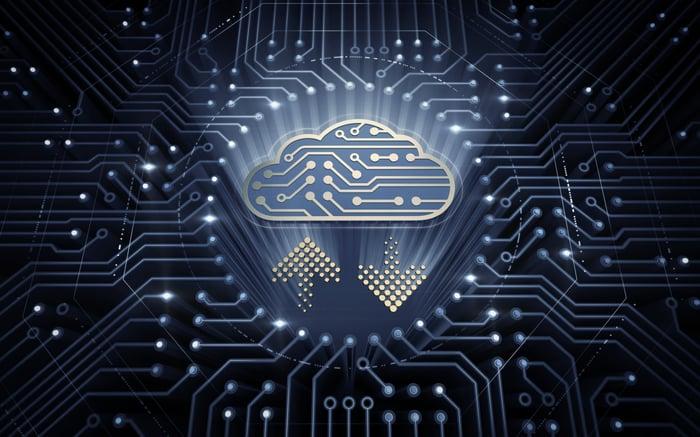 A digital cloud on a circuit board.