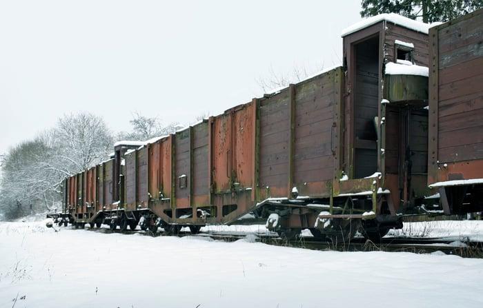 Train rail cars in the snow